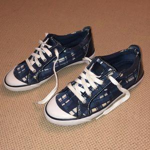 Coach Barrett Blue Plaid Sneakers